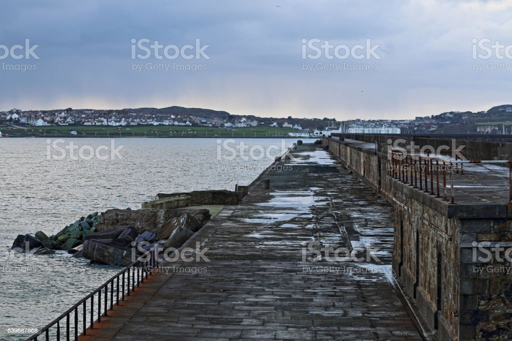 Looking Back Along Holyhead Breakwater, Holyhead, Anglesey, North Wales stock photo