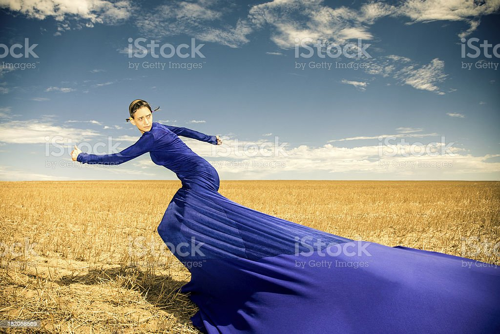 Looking Back In Motion, Women Surreal Fashion royalty-free stock photo