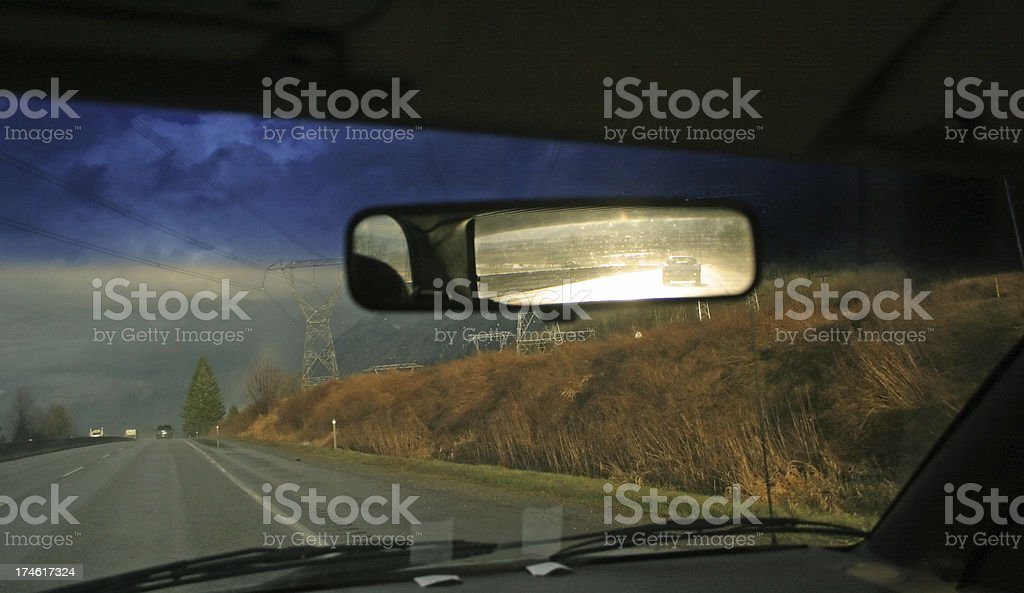 Looking Back Through the Rear View Mirror stock photo