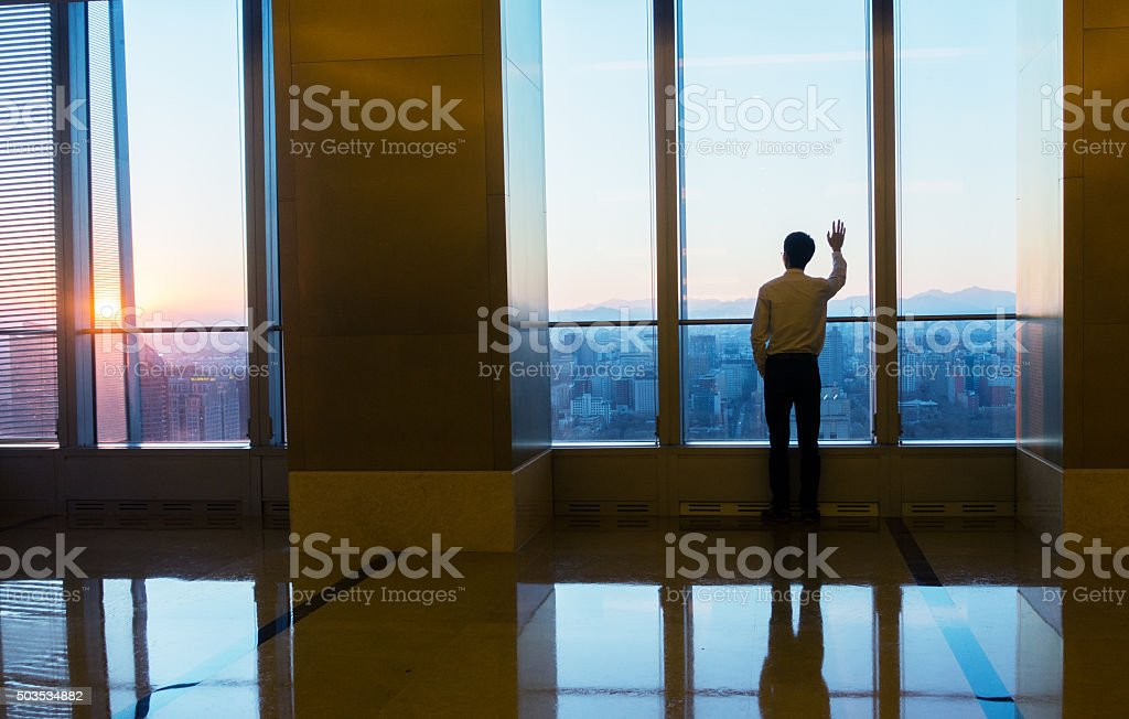Looking cityscape through the window stock photo