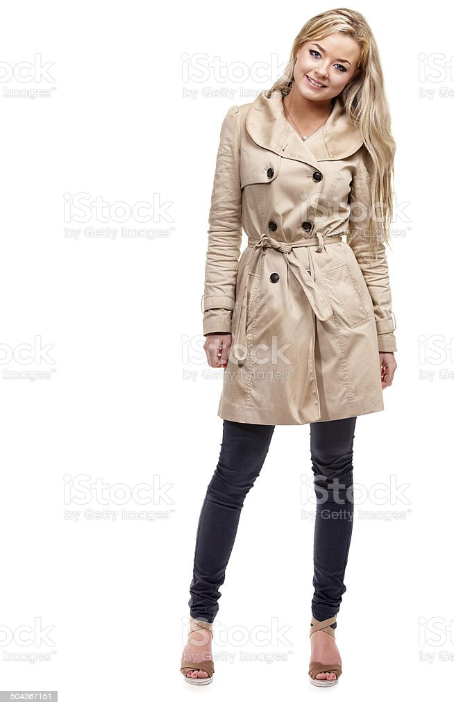 Looking cute in my coat stock photo