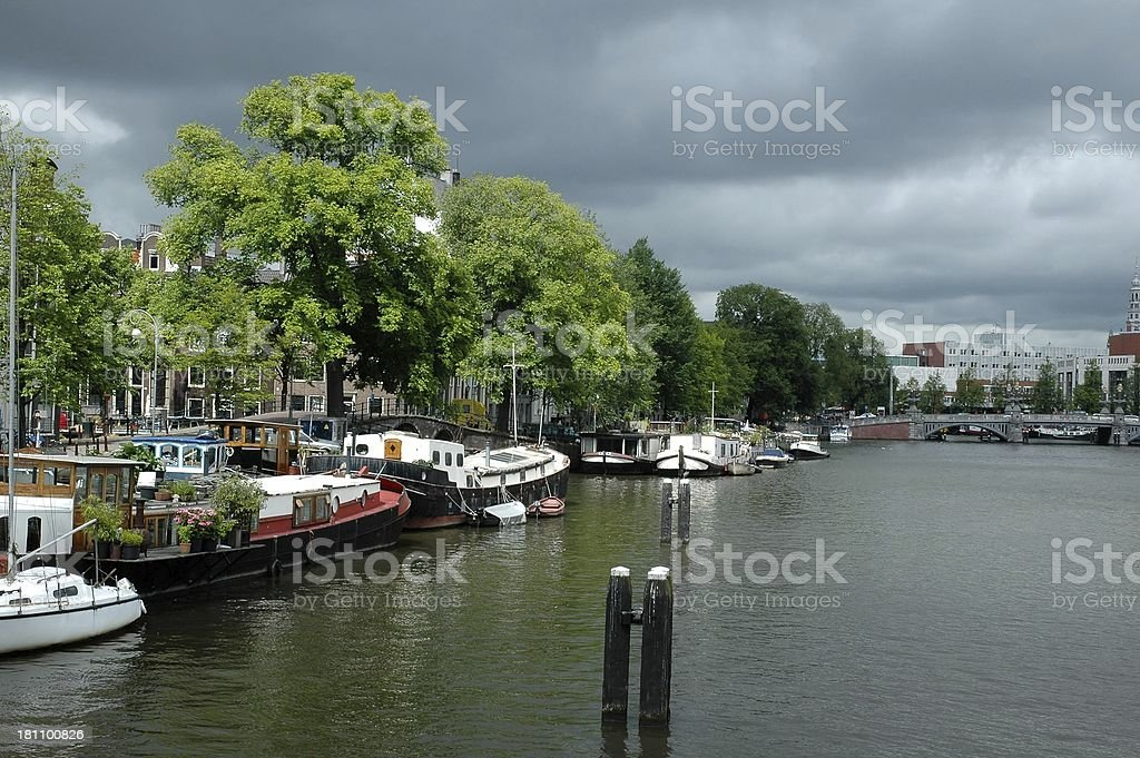 Looking down Amstel river royalty-free stock photo