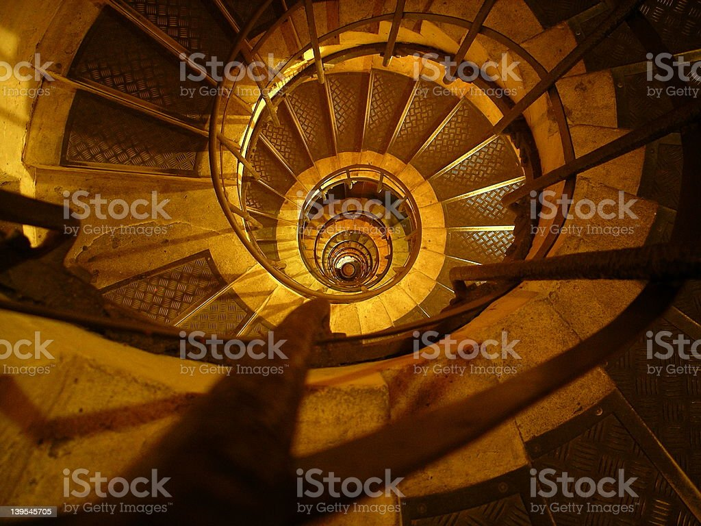 Looking down Arc de Triomphe Stairs royalty-free stock photo
