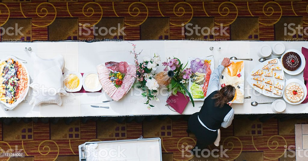Looking Down at a Buffet Table stock photo