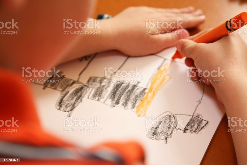 Looking Down at a Child's Drawing royalty-free stock photo