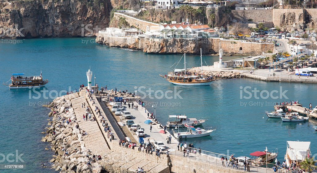 Looking down at a harbour in Antalya, Turkey stock photo