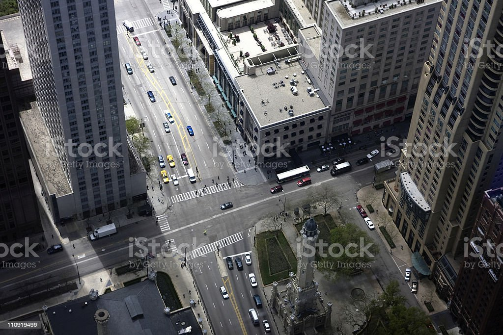Looking Down At Downtown Intersection with Cars royalty-free stock photo