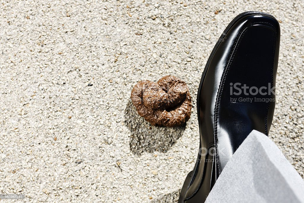 Looking down at man's foot in formal shoe approaches poo royalty-free stock photo