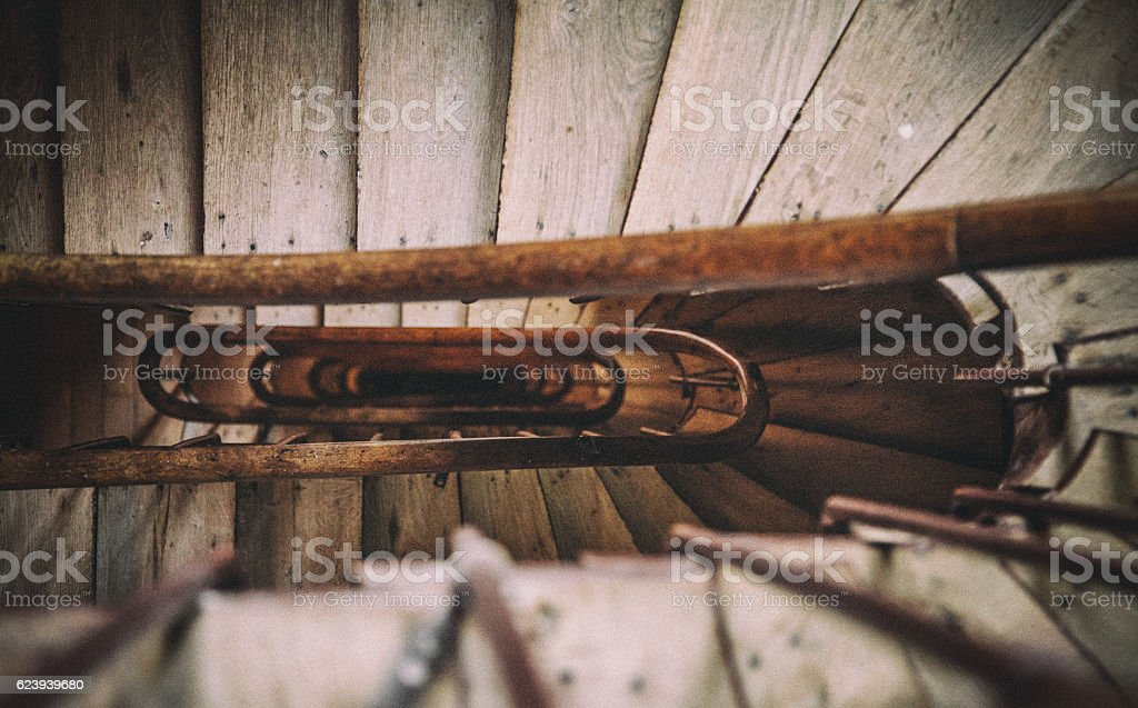 Looking Down at Old Stairway stock photo