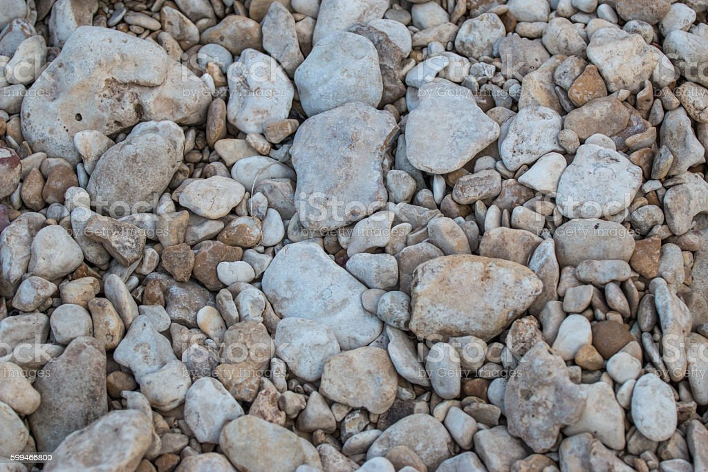 Looking down at rocks of various sizes stock photo