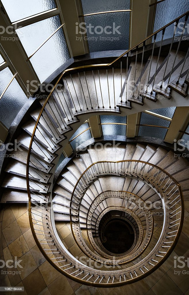 Looking Down at Spiral Staircase stock photo