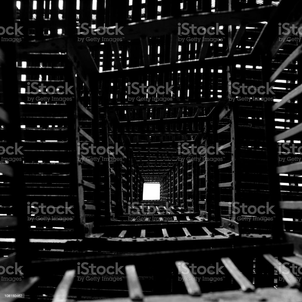 Looking Down at Square Metal Fire Escape, Black and White royalty-free stock photo