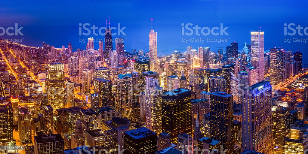 Looking down at the Chicago skyline at night stock photo