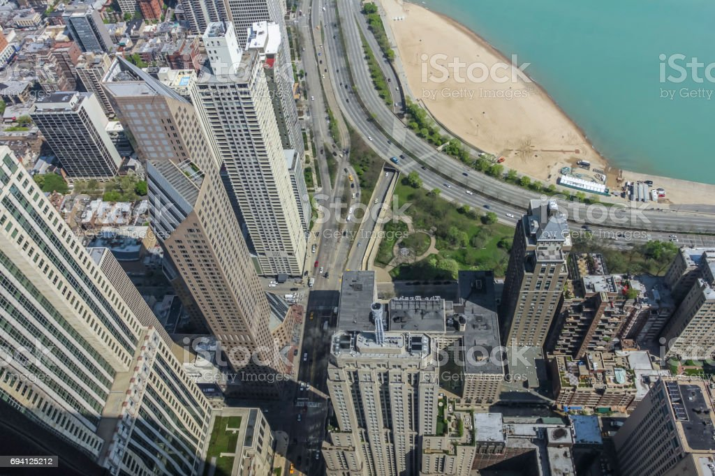 Looking down at the city of Chicago stock photo