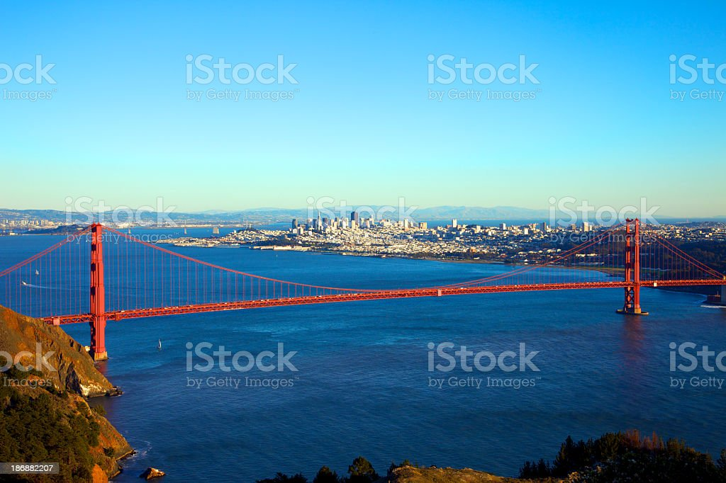 Looking down at the San Francisco Bridge royalty-free stock photo