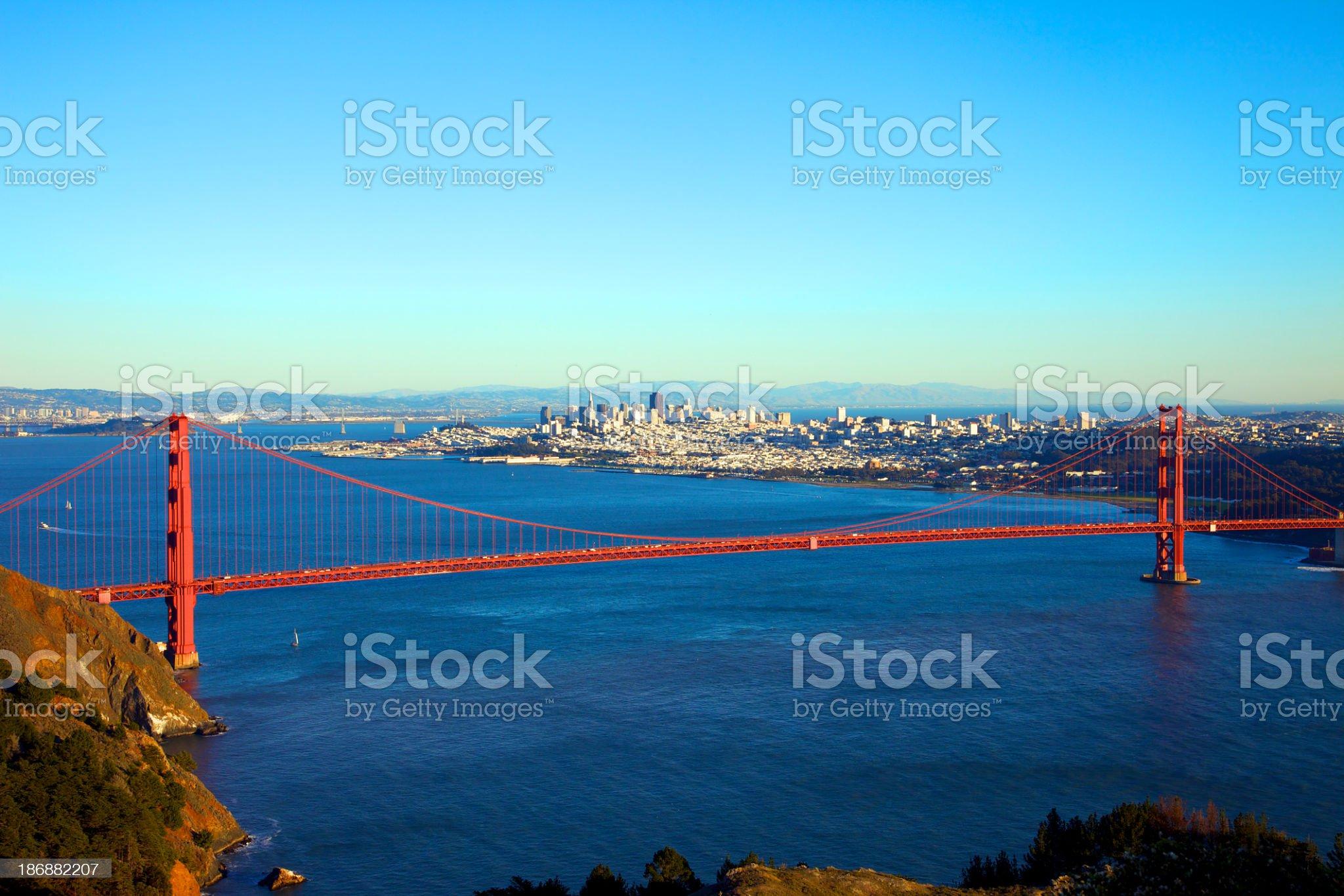 Looking down at the San Francisco Bridge royalty-free stock photo