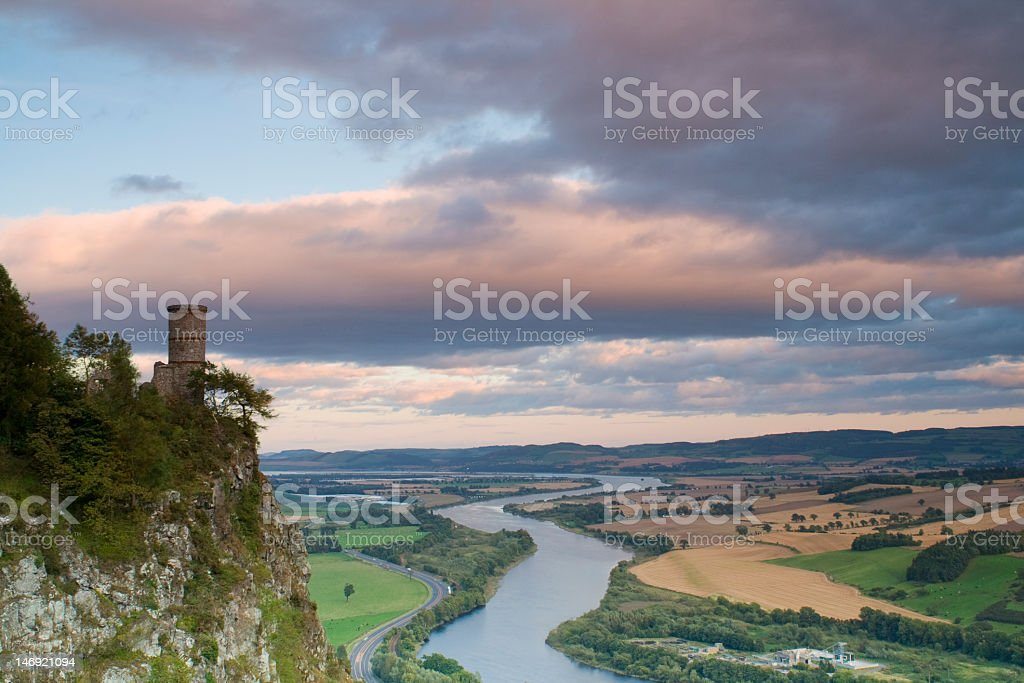Looking down from Kinnoull Hill stock photo
