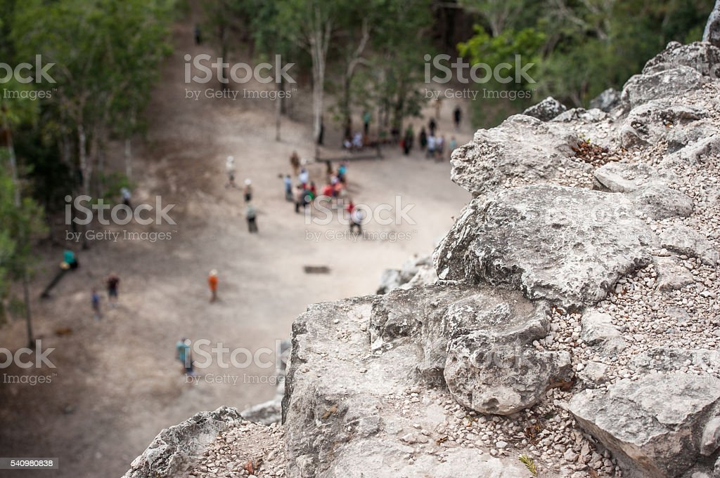 Looking down from the ancient Mayan Pyramid stock photo