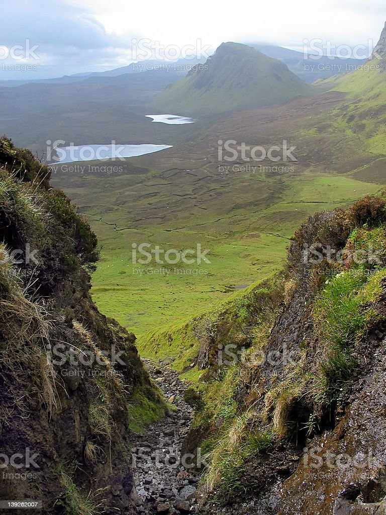 Looking down from the Quiraing stock photo