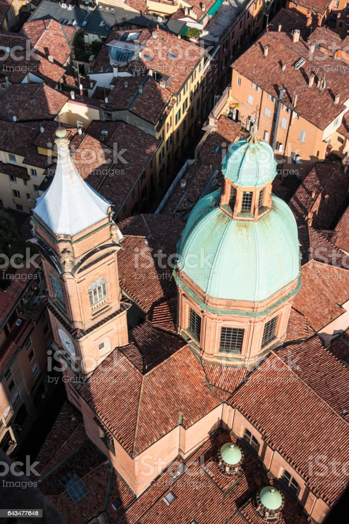 Looking down from the Torre degli Asinelli, Bologna, Italy. stock photo