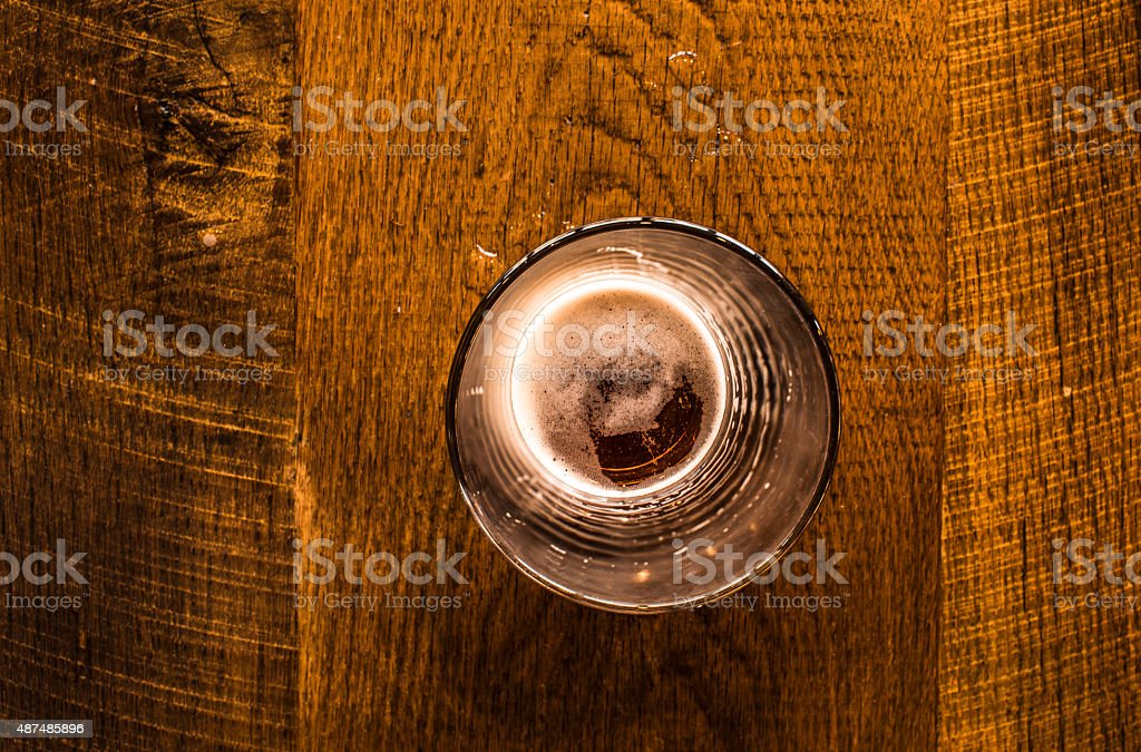 Looking Down Into Pint Of Beer stock photo