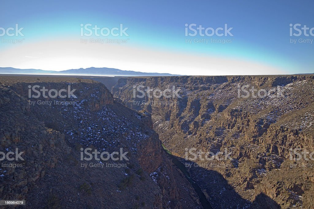 Looking down into the Rio Grande, New Mexico stock photo