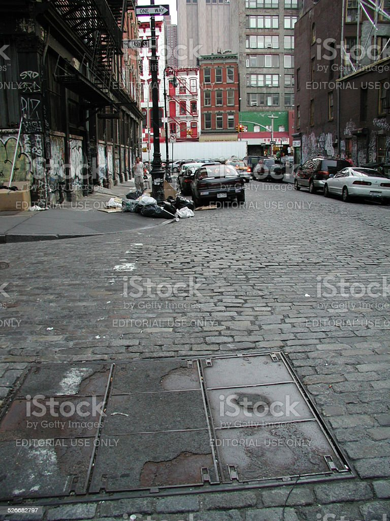 Looking down Mercer Street into Canal Street NYC SOHO stock photo