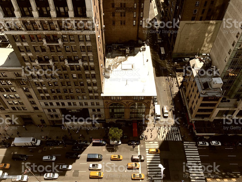 Looking down on 5th Avenue NYC stock photo