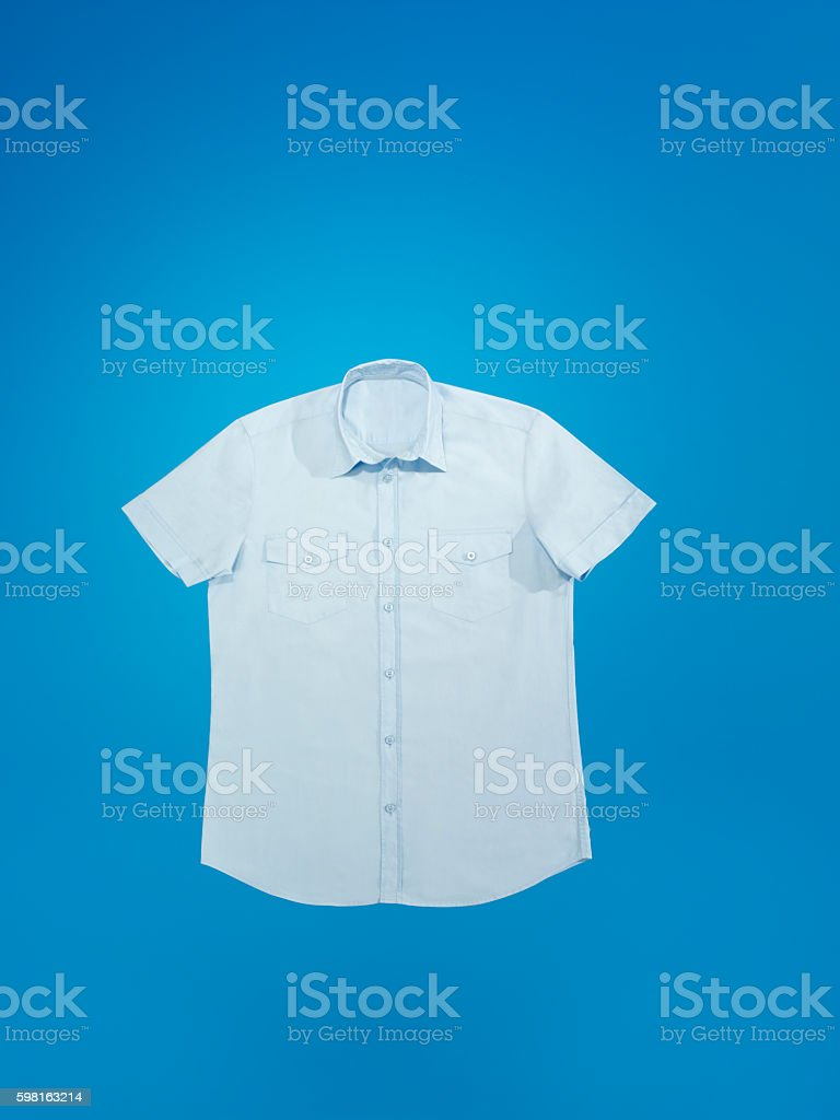 Looking down on a men's shirt stock photo