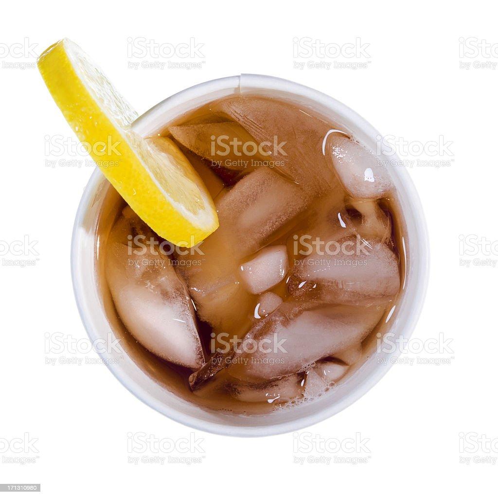 Looking down on Iced Tea with lemon slice stock photo