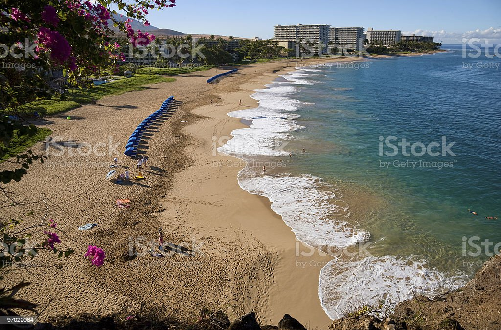 Looking down on Kaanapali Beach, Maui, Hawaii stock photo