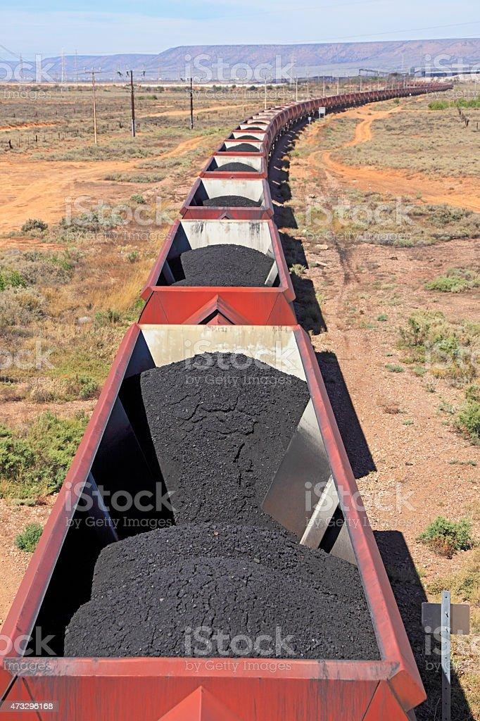 Looking down on loaded coal train stock photo
