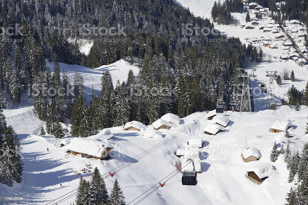 Looking down on ski slopes royalty-free stock photo