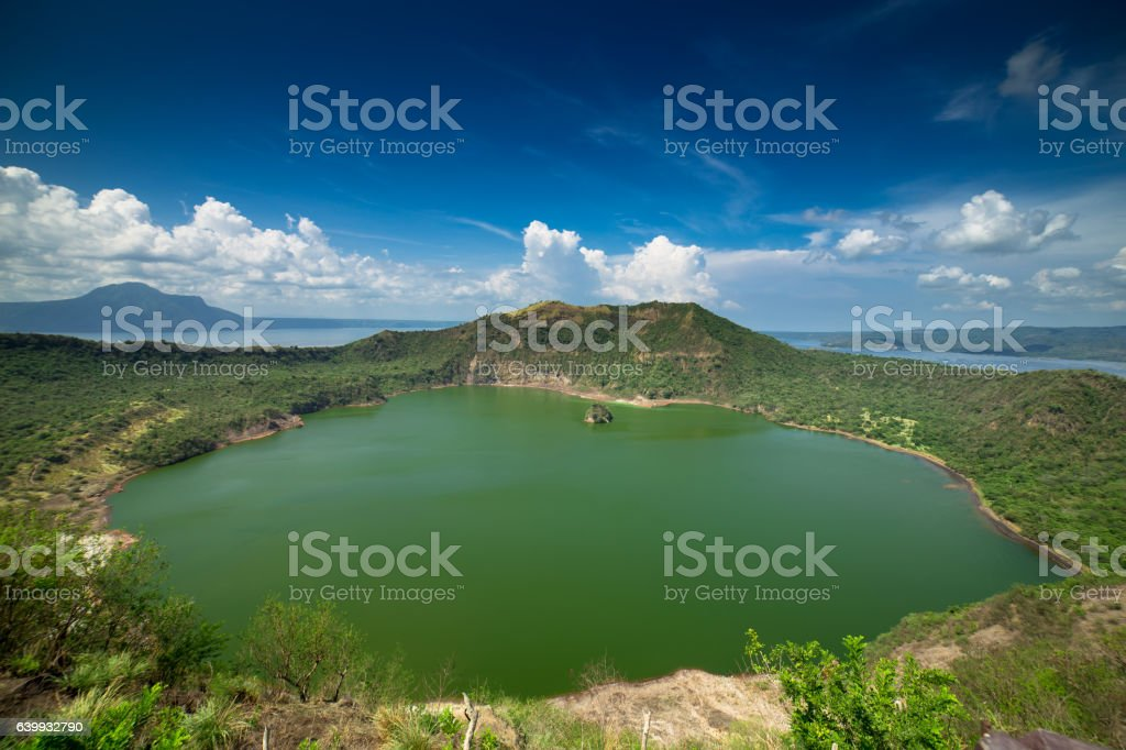 Looking Down on Taal Volcano stock photo