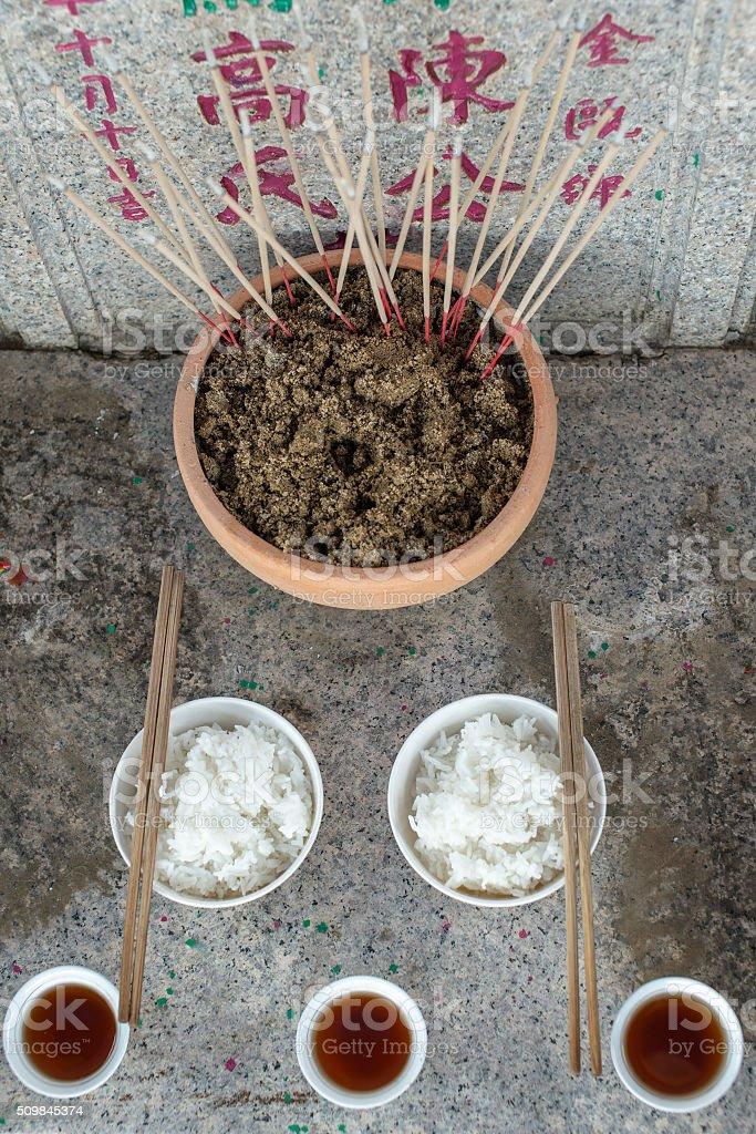 looking down on the ancestral altar. The ancestor day Qingming stock photo