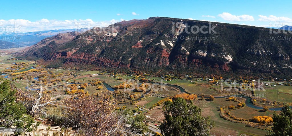 Looking down on the Animas river valley in the fall stock photo