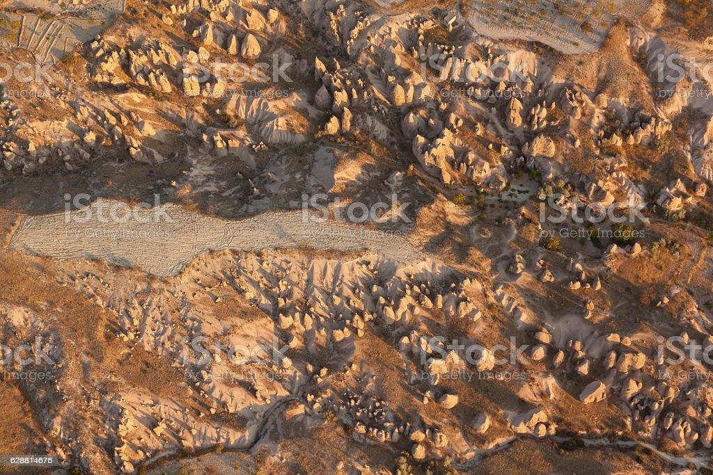 Looking down on the spires of Cappadocia, Turkey. stock photo