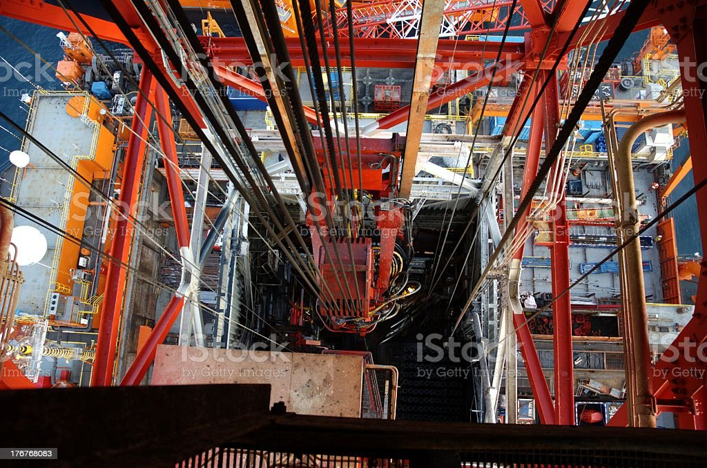 Looking down on traveling block above drill floor on an offshore stock photo