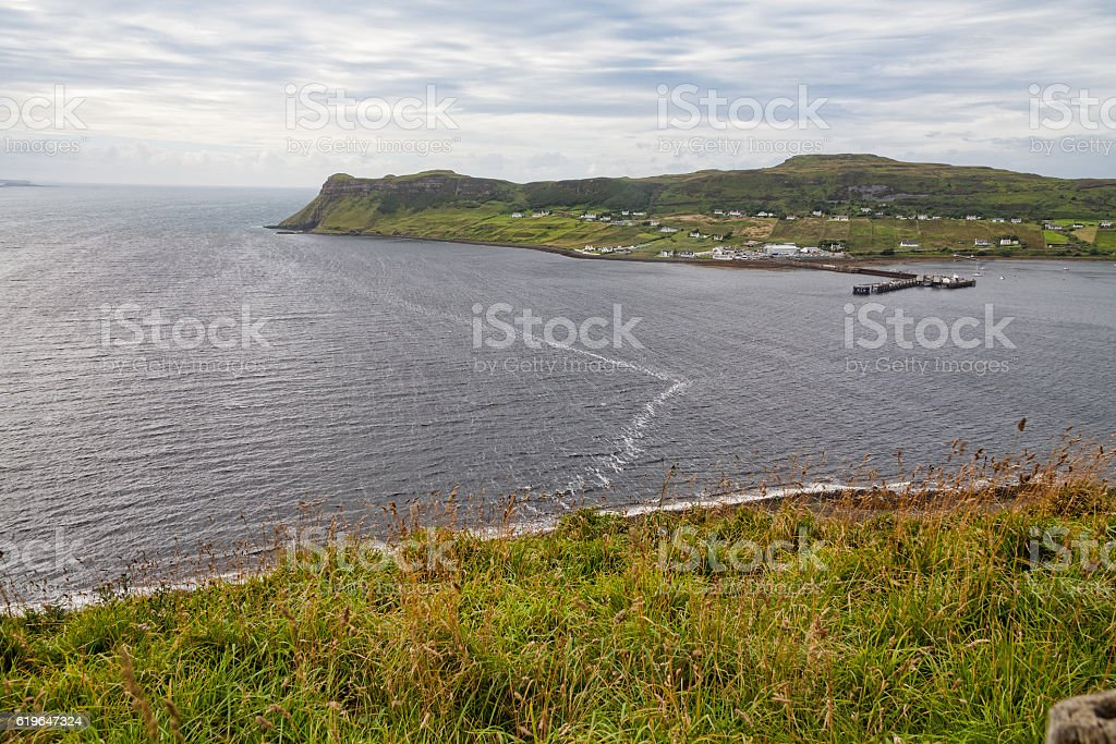 Looking down on Uig stock photo