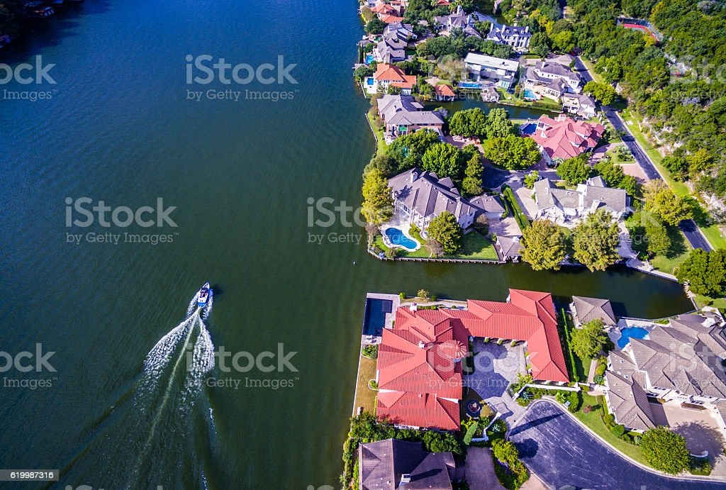 Looking Down Over Mount Bonnell Mansions Austin Texas stock photo