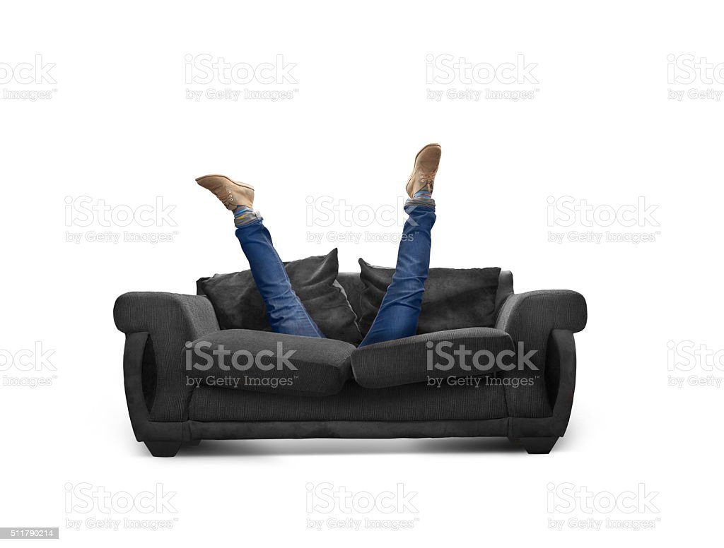 looking down the back of the sofa stock photo