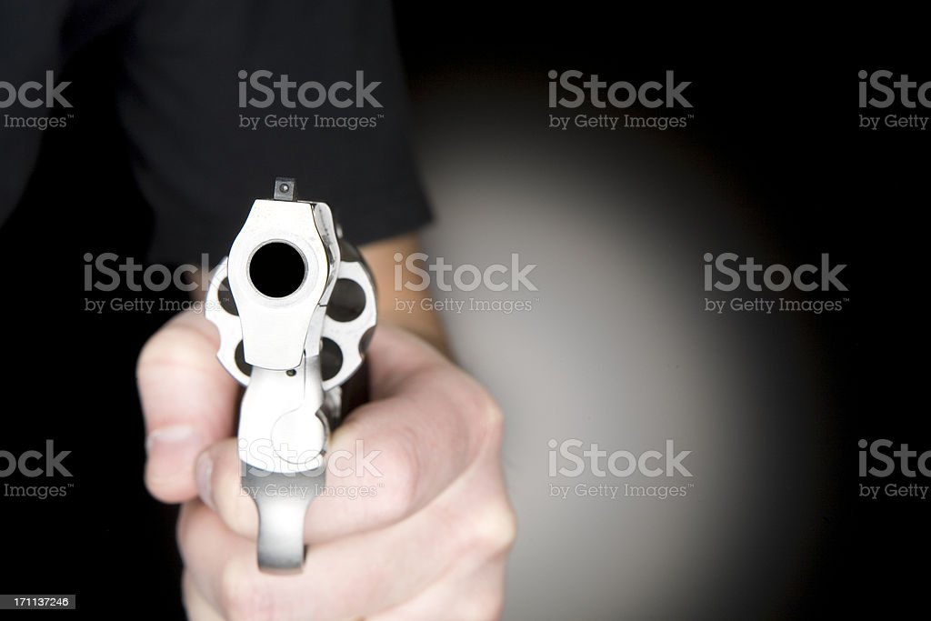 Looking Down the Barrell of a .357 Revolver Handgun stock photo