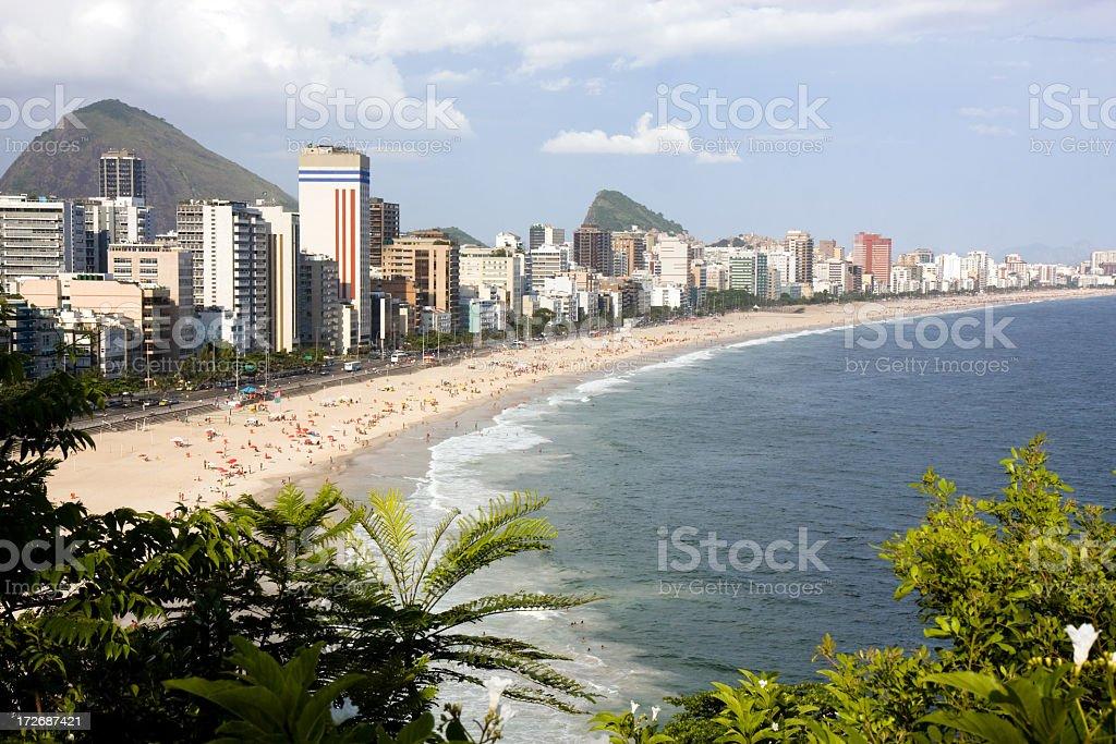 Looking down the coast at Ipanema Beach royalty-free stock photo