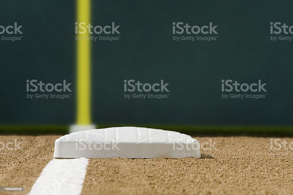 Looking down the foul line to third base, outfield wall stock photo