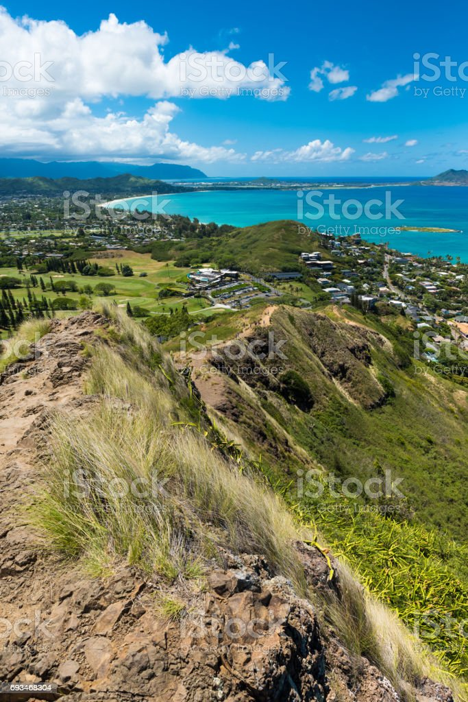 Looking down the Pillbox Hike over Kailua. Oahu, Hawaii. stock photo