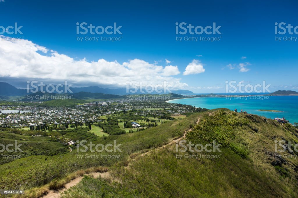 Looking down the Pillbox Hike over Kailua, Oahu, Hawaii. stock photo