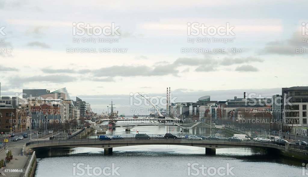Looking Down the River Liffey at Dublin Docklands stock photo