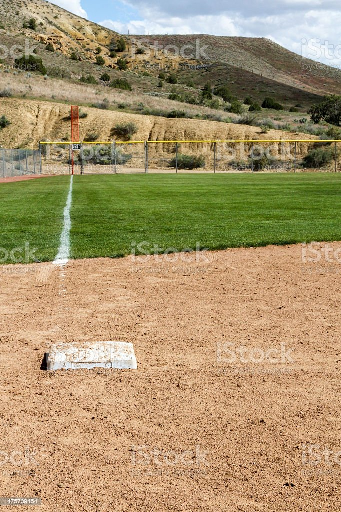Looking down the third base foul line in New Mexico stock photo