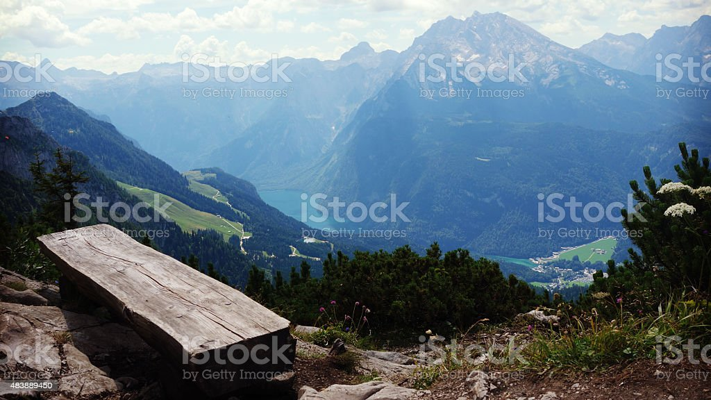 Looking down to K?nigssee from Obersalzberg, Germany stock photo