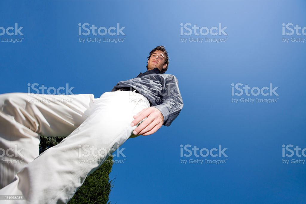 looking down, young man from below royalty-free stock photo